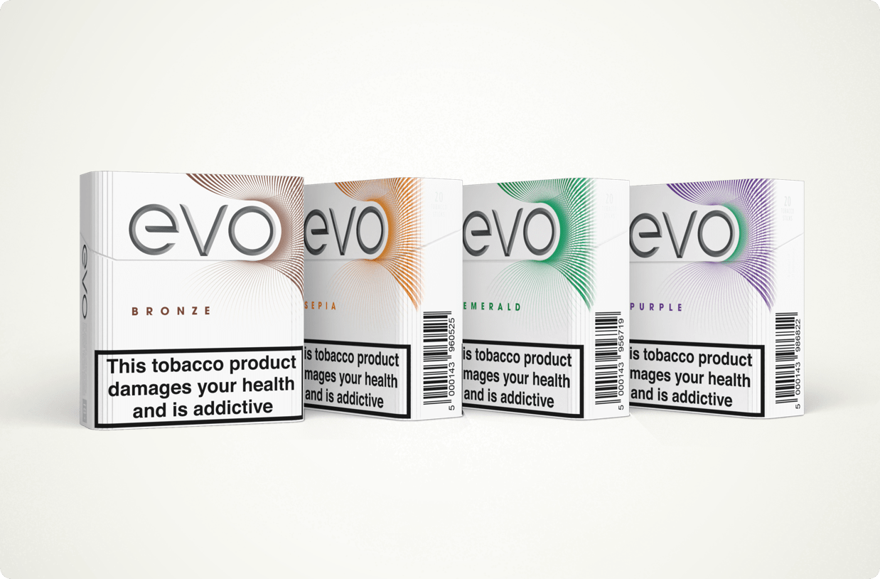 Evo heated tobacco refill packs for Ploom in 4 different flavours