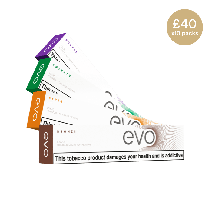 Cartons of Evo heated tobacco sticks in 4 flavours
